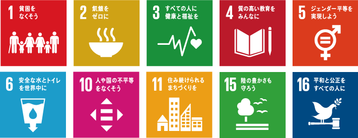 SDGsの17の目標のうち下記の10の目標