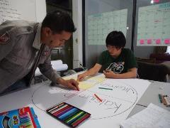 現地スタッフと一緒にスクールミルクプログラム用の教材を作成