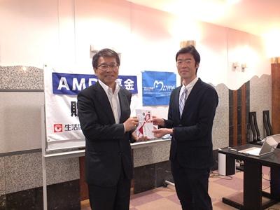 おかやまコープ 平田昌三理事長(左)とAMDA-MINDS 田中海外事業部長