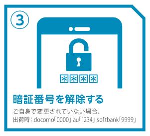 ③携帯電話自体の暗証番号を解除する(ご自身で変更されていない場合、工場出荷時:docomo「0000」、au「1234」、softbank「9999」)